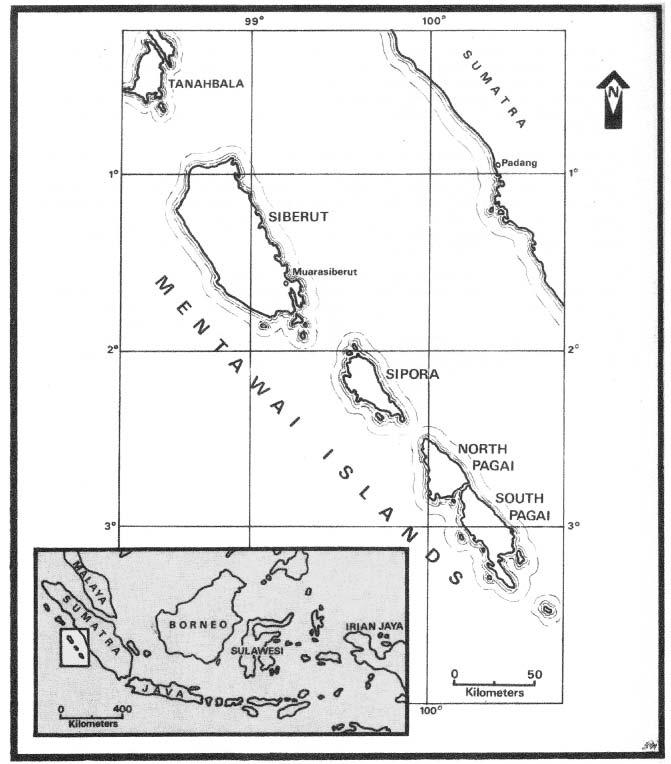 Monkeys and Mentawai Islanders 189 Figure 9.1. A map of the Mentawai Islands. Location The Mentawai Islands constitute some of the most unique and interesting places on earth.
