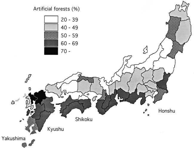 Monkeys and Japanese rural communities 259 Figure 12.2. Percentages of artificial forests in the monkey habitat prefectures of Japan. Source: MAFF (1991).