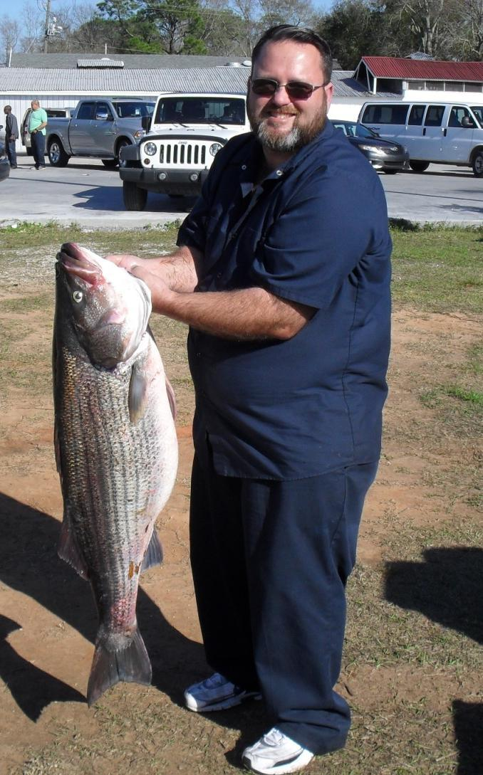 Number Right: The state record Striped Bass was caught in the West Pascagoula River Marsh. The trophy Striper weighed 39.6 pounds and measured 4.25 inches total length. Mr.