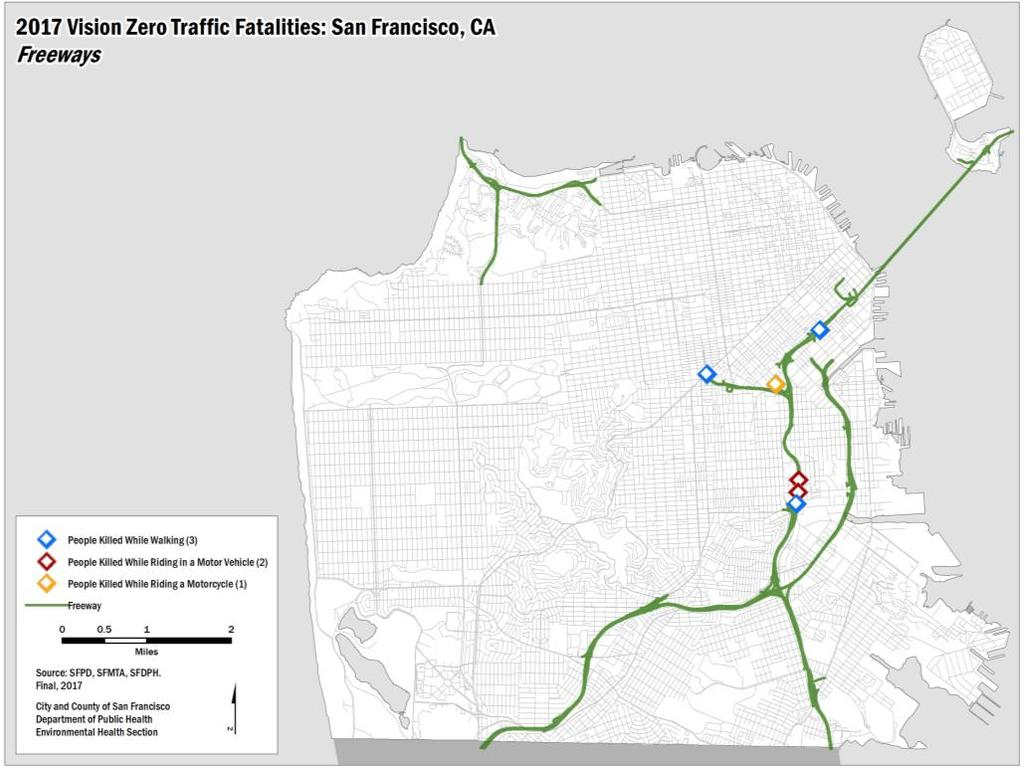 APPENDIX C FATALITIES ON FREEWAYS AND IN THE PRESIDIO Six people ( people walking, people riding in a motor vehicle, and person riding a motorcycle) were killed in transportationrelated collisions on