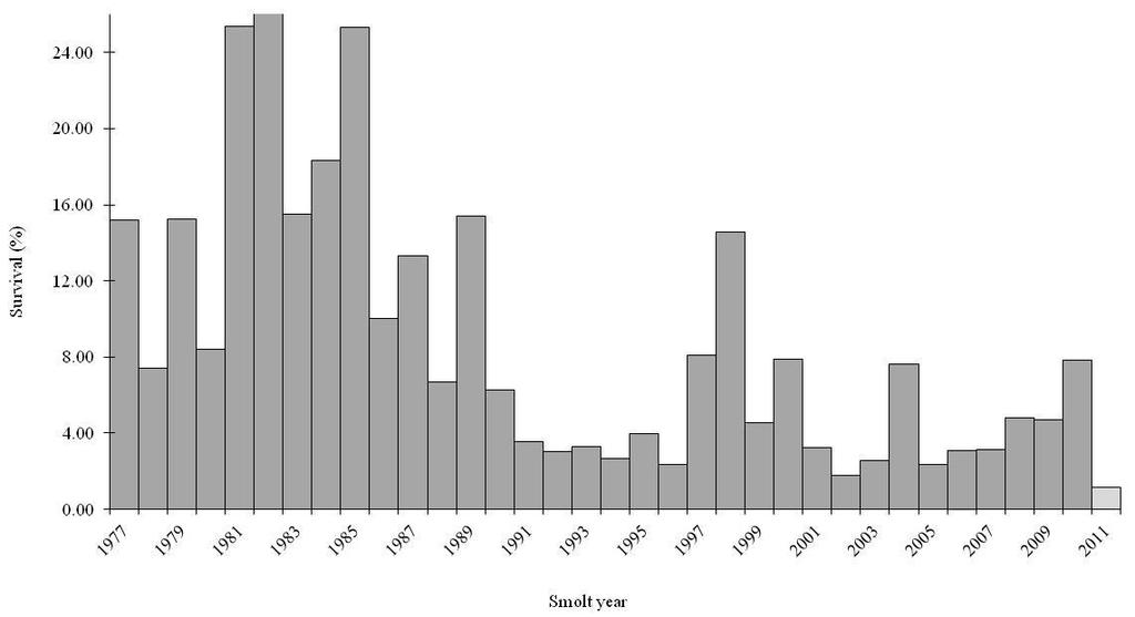 Marine Survival Estimates for Steelhead Smolts by Year of Ocean Entry, Keogh River, BC