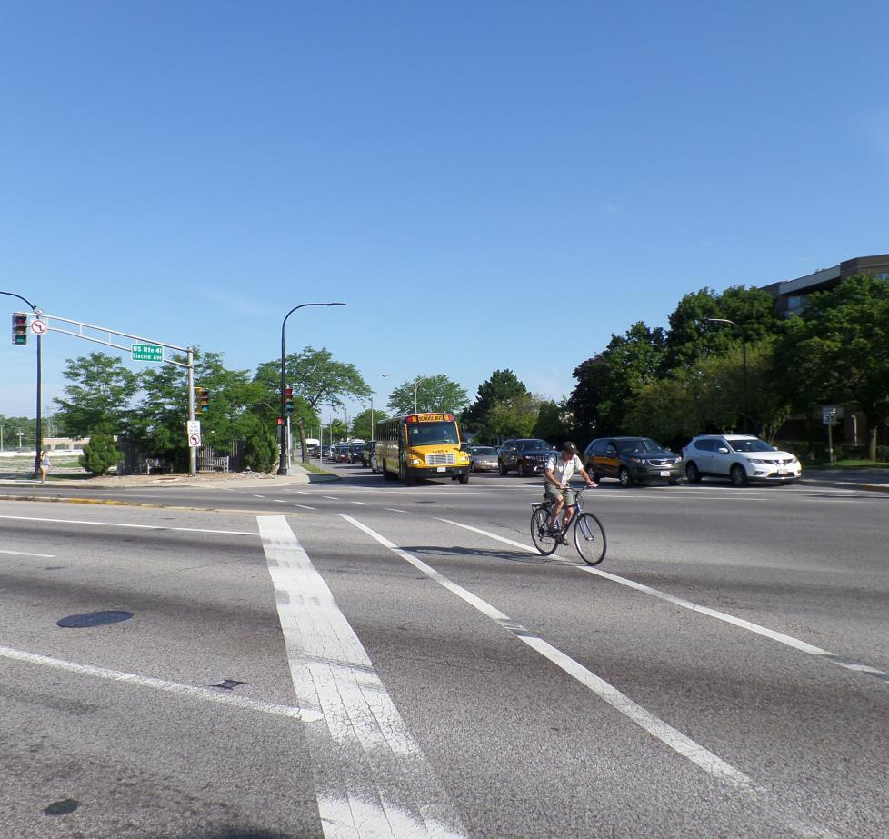 Southeast Bound Lincoln Avenue Traffic The above photograph shows a cyclist traveling southeast bound on Lincoln Avenue at Touhy Avenue.