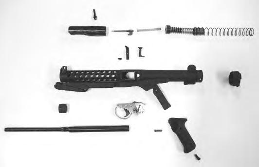 Barrel B C D E F G H A I J K L M N P R O Q S A. Bolt B. Operating handle C. Striker D. Striker spring E. Striker cup F. Small recoil spring G. Recoil spring sleeve H. Large recoil spring I.