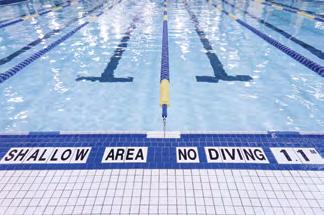 8 Notices, Signage and Markings The following six separate notices, signage and markings must be posted in the pool area: 1. Caution Notice 2. Shower Sign 3. Emergency Telephone 4. Diving Rules 5.