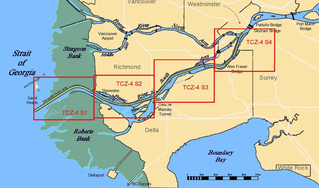 Image: TCZ-4 Boundaries Fraser River deep sea vessel transit restrictions vary in accordance with River Sections 1-4, the geographical boundaries of which are illustrated above.