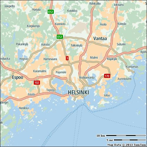 Helsinki 18% of city compared to continent 46/59 on highways 13% on non-highways 23% 22 min 61 h Most congested specific day