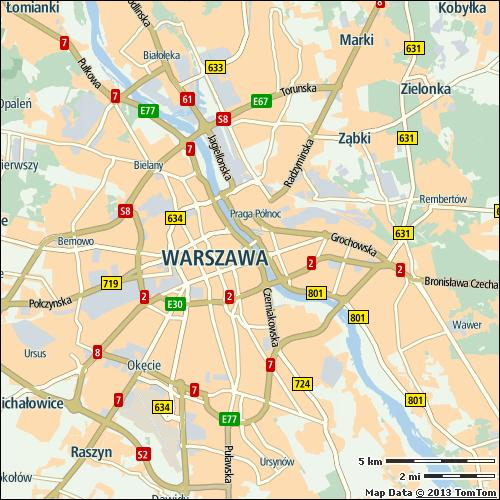 Warsaw 42% of city compared to continent 3/59 on highways 39% on non-highways 46% 51 min 105 h Most congested specific day