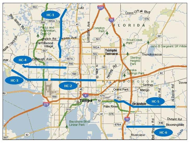 Figure 1 Arterials Analyzed in Hillsborough County, Florida Figure 2 shows the total crashes by corridor, broken down into major types of crashes.