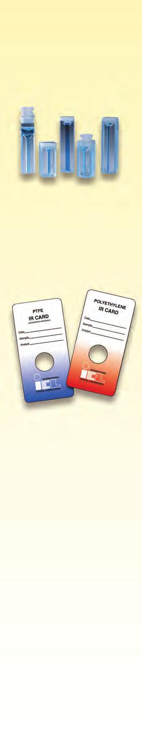 Real Crystal IR Sample Cards & PTFE & Polyethylene IR Sample Cards IR Sample Cards SEE For Spectra of Sample Card Substrates PTFE, Polyethylene, KBr, KCl & NaCl US Patent No. 7,932,095 UK Patent No.