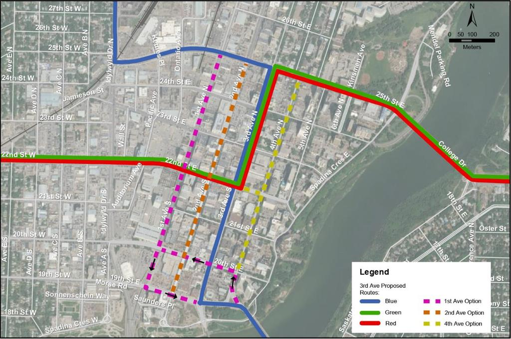 Figure 1 Exclusive Runningway Corridor Options in Downtown Saskatoon 2 Exclusive Runningway Corridor Options All four roadways span the entirety of the Downtown Core from 19 th Street to 25 th