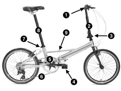 BICYCLE TERMS UNFOLDING INSTRUCTIONS 3 4 1. Handlebar PART 3 - BICYCLE TERMS 2. Handle Post 3. Handle Post Latch 4. Pedal 5. Crank 6. Chain 7. Seat Post Quick-Release 8. Seat Post 9.