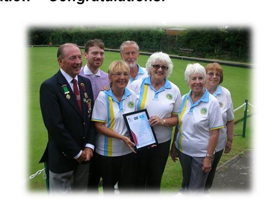 Bushey Bowling Club achieve Clubmark certification - Congratulations! On Thursday 16th July 2015, Bushey Bowling Club were the proud recipients of a Clubmark certificate.
