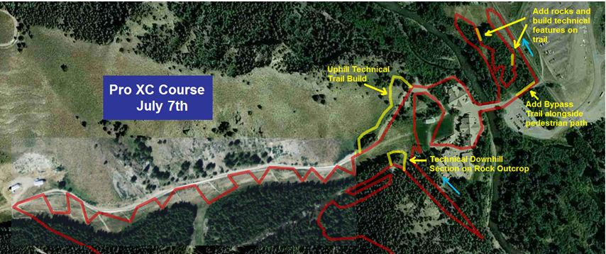 The Pro XC Course is a 6.7 Km Loop with 561 Feet of climbing per lap. Riders will start and finish at River Run Lodge base area.