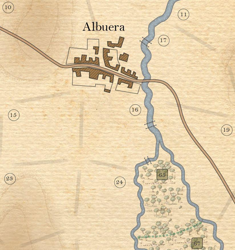 The above image shows all the terrain in the game. Areas 11, 15, 16, 17, 19 and 24 are clear terrain. Areas 10 and 23 are hills. Both hills and clear are Open terrain. Albuera is a town.
