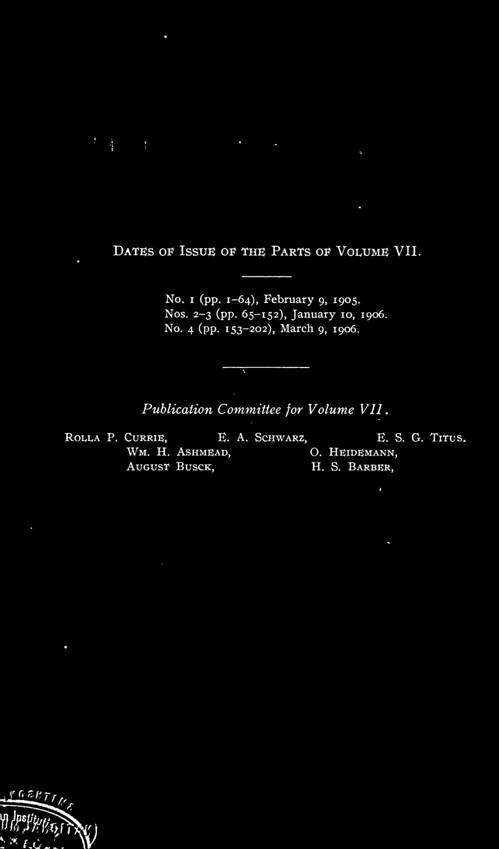 Publication Committee for Volume VII. ROLLA P.