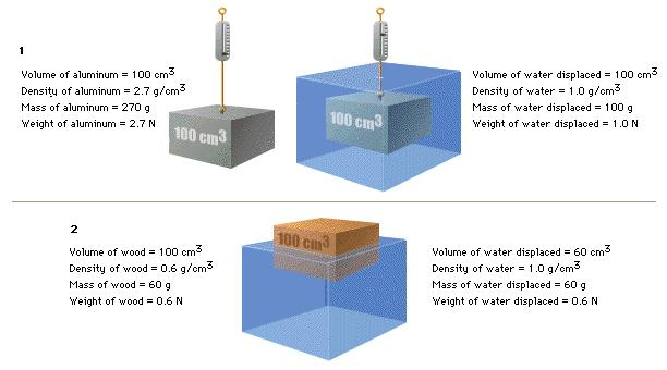 Diagram 2 below shows how the mass of the wood is equal to the mass of displaced water. Archimedes Principle Observation experiment: Submerging objects attached to spring scales http://paer.rutgers.