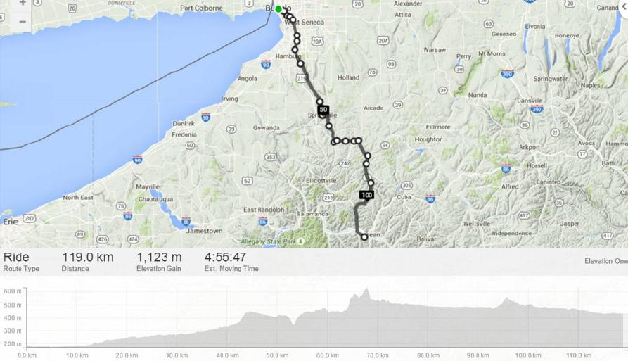 A OCTOBER 8th Day 1 Cycling (Buffalo, NY to Olean, NY) 119 km Our Hotel is in the centre of the town of Buffalo and after a good early breakfast we start our ride through town.