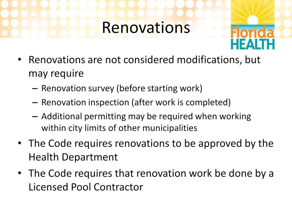 Renovations, which include resurfacing of the pool surface and/or replacing the deck do not require a modification permit. However, BEFORE work begins, they do require a renovation survey.
