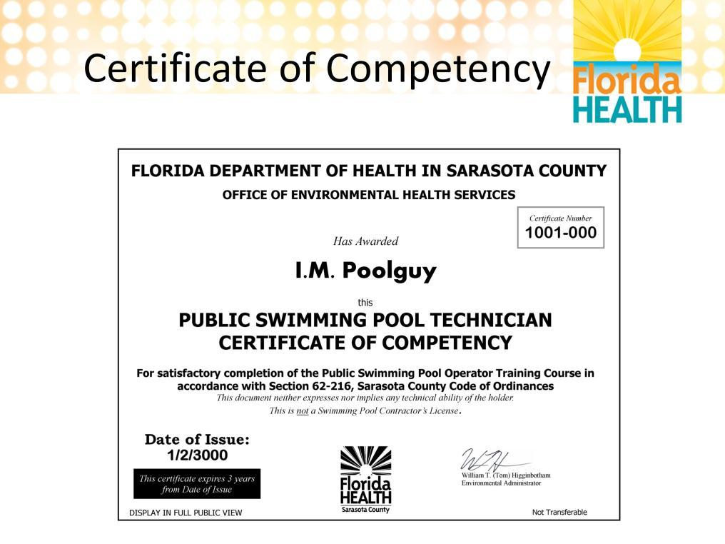 After completing this course and passing the exam, you will receive a certificate of competency.