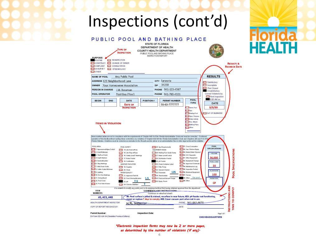 This slide shows what an inspection form will look like. The top left corner will tell you the type of inspection that was done; routine, reinspection, complaint, etc.