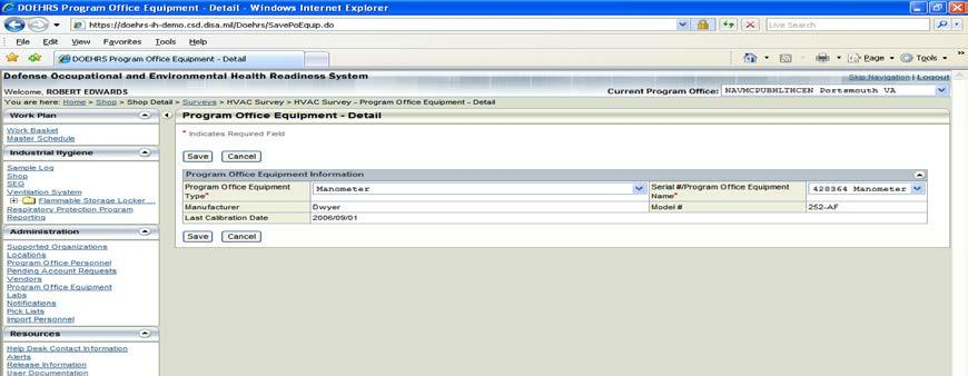 Ensure the Program Office Equipment is added by clicking the + on the Program Office Equipment tile and then selecting