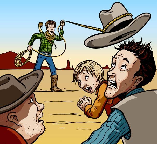 What do you want? asked the outlaws fearfully. Food, said Bill, and water. Curly Joe and Bill spent the night. The next day, Bill watched as the outlaws practiced their cattle roping.