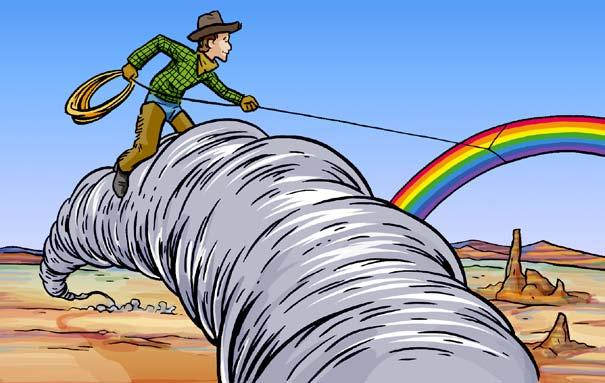 Yippee! Bill yelled as he kicked the tornado again. This time, the tornado spun toward a rainbow that was in their path. Bill lassoed the rainbow and pulled it down to the desert.