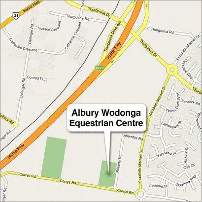 ALBURY WODONGA EQUESTRIAN CENTRE CORRYS ROAD THURGOONA Directions Arriving from South: Follow the Hume Freeway to the Lavington shopping centre / Racecourse Road turnoff Turn right when coming off