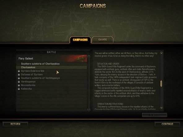 Missions unavailable for the moment are marked with a lock icon and cannot be selected. Each campaign consists of several battles and develops gradually.