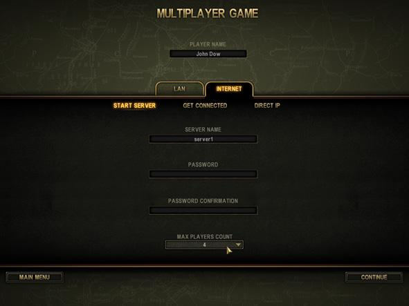 Enter a game name and select the number of players. You can also define a server password. In this case, all players who try to connect to this server will have to first enter the correct password.