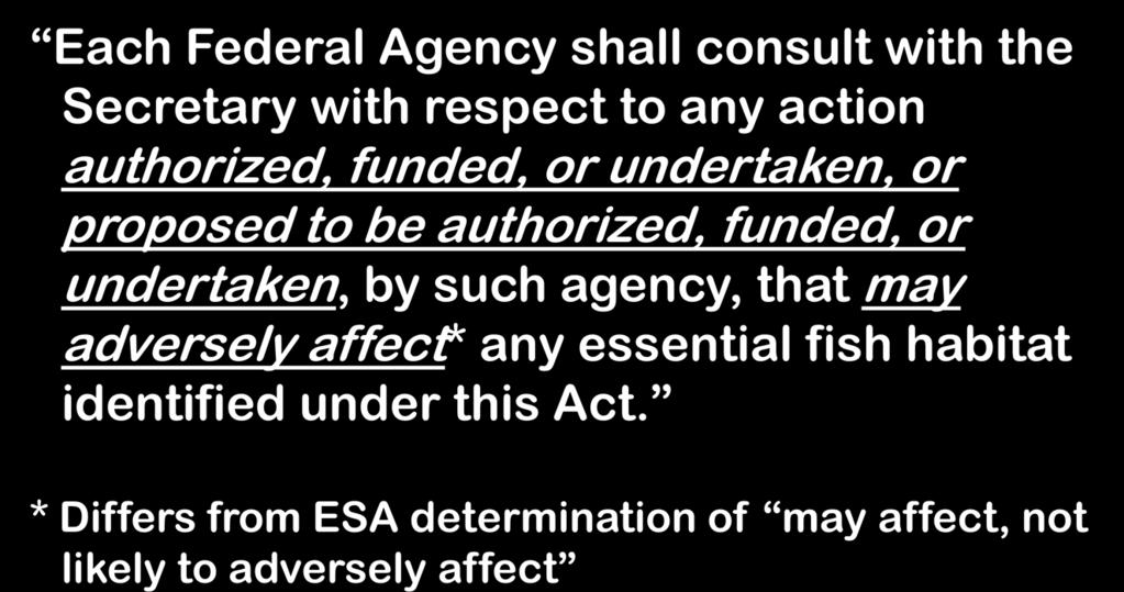 authorized, funded, or undertaken, by such agency, that may adversely affect* any essential fish