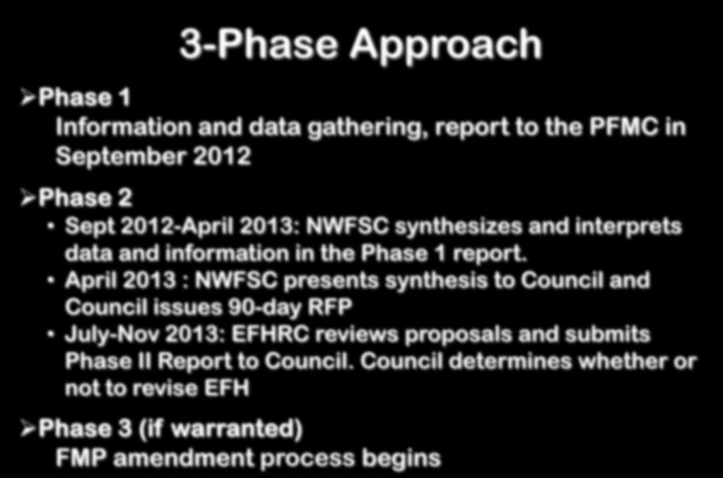 3-Phase Approach Phase 1 Information and data gathering, report to the PFMC in September 2012 Phase 2 Sept 2012-April 2013: NWFSC synthesizes and interprets data and information in the Phase 1 report.
