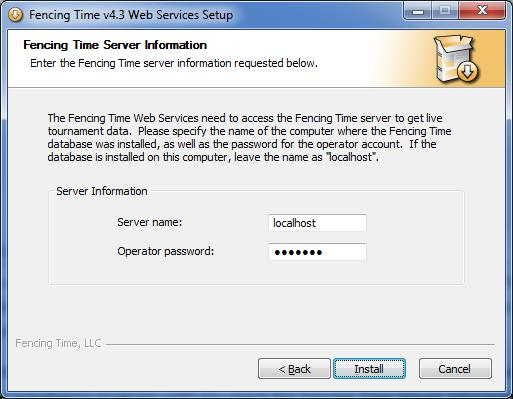 Step 6: Update the Web Services The next step in upgrading your server is to upgrade the Fencing Time Web Services.