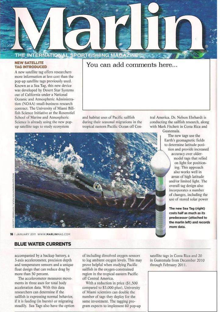 Article appeared in the December Issue of Marlin Magazine mentioning the