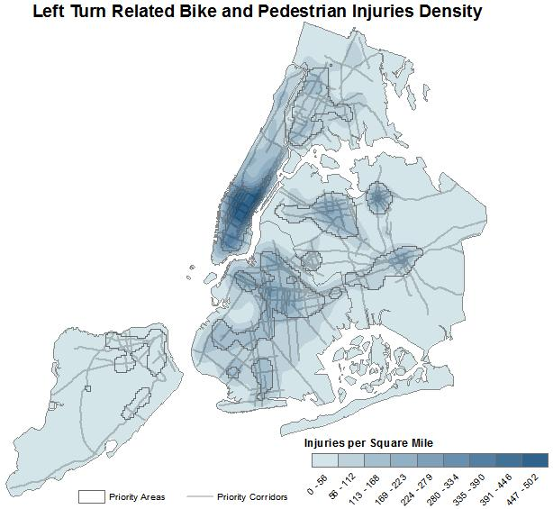 Brunson, Getman, Hostetter, Viola 7 206 207 208 209 210 211 212 FIGURE 3 Density of left turn related bike and pedestrian injuries.