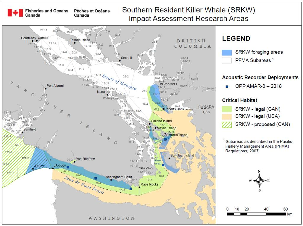 Figure 1: Southern Resident Killer Whale habitat and areas with frequent observations of foraging behaviour. (Source: S. Thornton Pers. Co