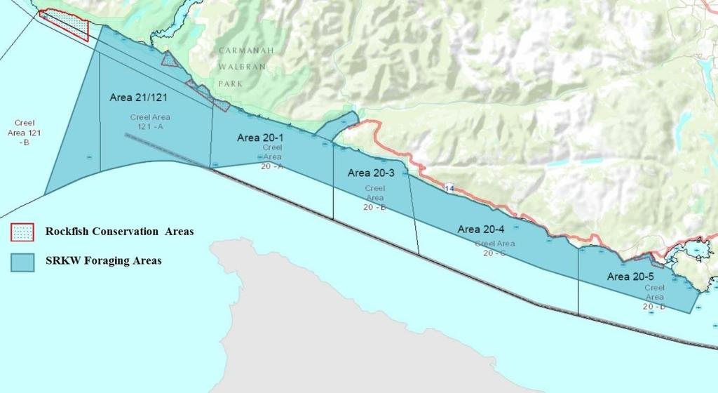 4. Proposed Management Measures and Areas 1. Strait of Juan De Fuca Figure 2: Juan De Fuca Map showing SRKW Foraging areas and Rockfish Conservation Areas (RCAs).
