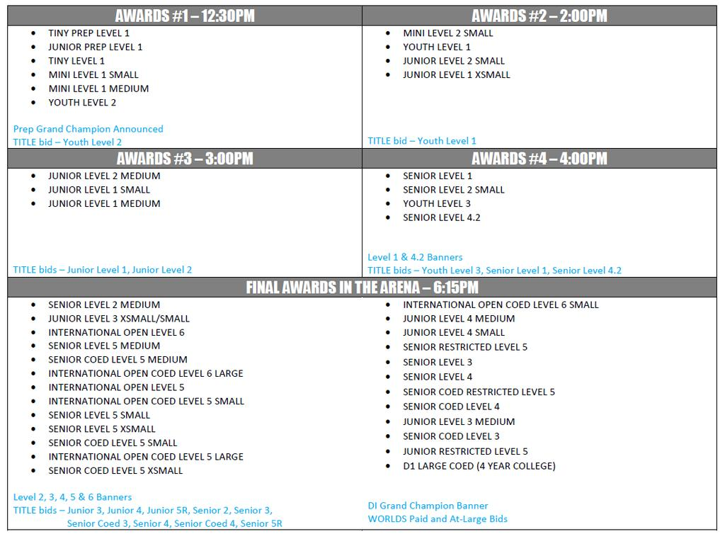 DI NATIONALS AWARDS SCHEDULE ORLEANS