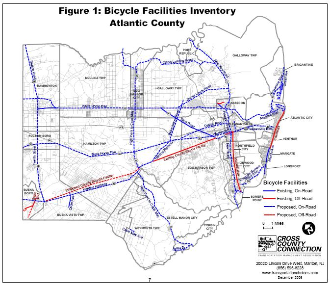 Atlantic County In December 2005, Cross County Connection completed the Atlantic County Bicycle Facilities Inventory and Analysis report.