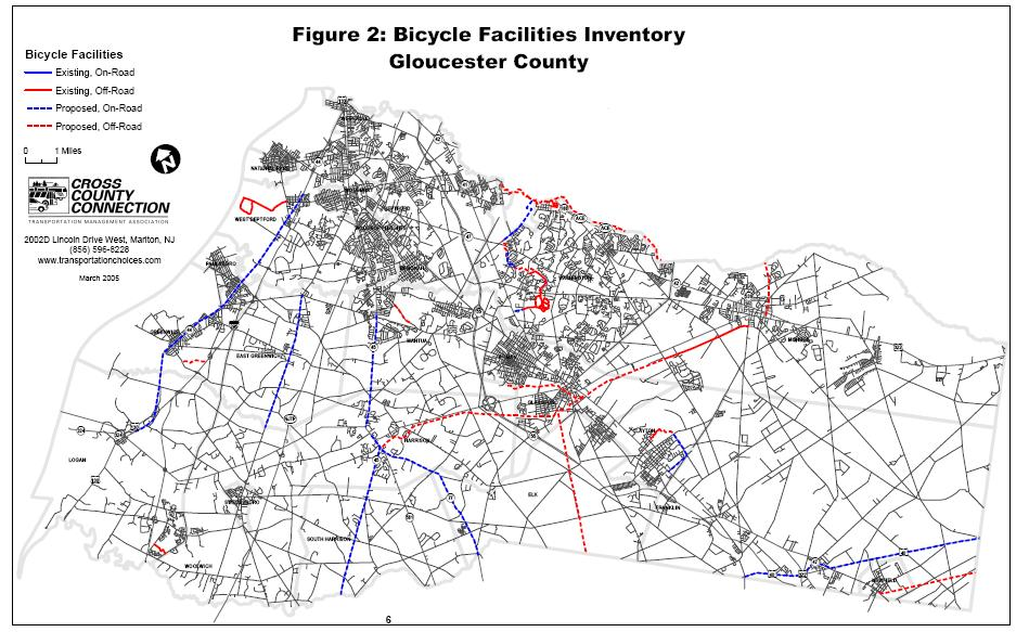 Gloucester County In June 2005, Cross County Connection completed the Gloucester County Bicycle Facilities Inventory and Analysis report.