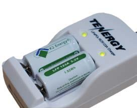 These rechargeable batteries can ONLY use this white battery charger that is compatible with the LFP (Lithium Iron Phosphate) battery