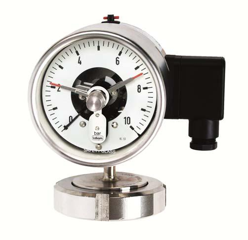 Bourdon tube pressure gauge for diaphragm seals and switch function, Type series BR42.