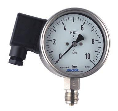 14 Transmitter-Bourdon-Tube Pressure Gauge Model P1TM Nominal size 100 Enclosure stainless steel Wetted parts stainless steel Pressure ranges from -1...+15 bar up to 0-400 bar Accuracy class 1.