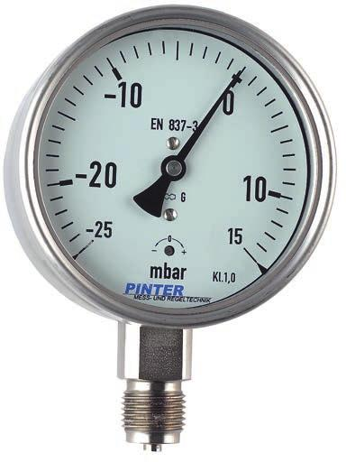 18 Stainless Steel Capsule Pressure Gauge Model P2 Nominal size 63/100/160 mm Enclosure stainless steel Wetted parts stainless steel Pressure ranges from -600...0 mbar to 0-600 mbar Accuracy class 1.