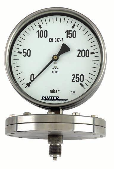 22 Stainless Steel Diaphragm Pressure Gauge Model P3 Nominal size 100/160 mm Enclosure stainless steel Wetted parts stainless steel Pressure ranges from 0-10 mbar to 0-25 bar Accuracy class 1.