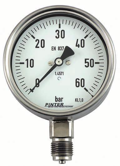 6 Bourdon-Tube Pressure Gauge Model P1 nominal size 63/100/160 mm pressure ranges from -1...+15 bar up to 0-600 bar accuracy class 1.0 / 1.