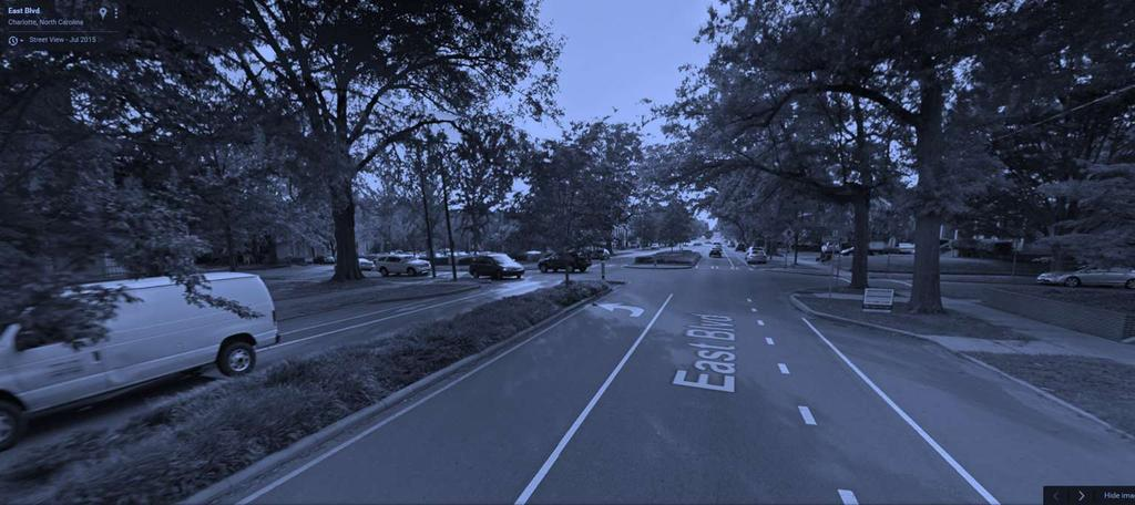 Completing the Street East Boulevard, Charlotte, NC [AFTER] Office and residential land uses enjoy same level of access Crossing distances shortened for pedestrians and mid-block refuge added for