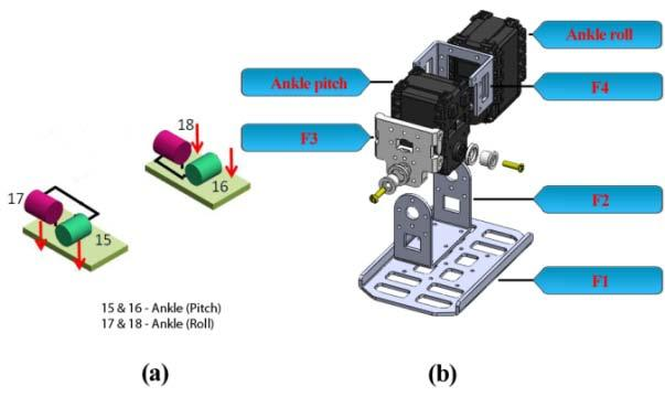 Fig. 19 (a) Kinematics diagram of ankle roll and pitch, (b) assembly of robot ankle and foot The foot of the robot is made by the combination two frames F2 and F1.