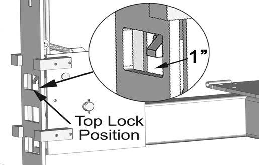 5. Check o make sure ha all Slack Safey Locks are cleared and free. (See Fig. 14.1) KEEP HANDS AND FEET CLEAR. Remove hands and fee from any moving pars. Keep fee clear of lif when lowering.
