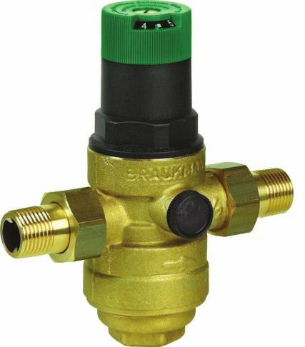 BSP thread Brass Reliable pressure reducing valve, provided with strainer element (mesh size 0.16 mm). The valve is constructed as a single seat balanced disc.